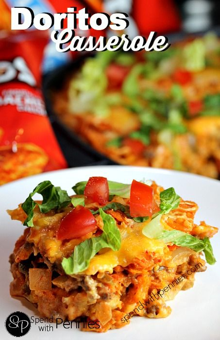 Layered Doritos Casserole! Love it?  Pin it to your DINNER board to SAVE it! Follow Spend With Pennies on Pinterest for more great recipes! This casserole was DELICIOUS!!  Okay, I know Doritos are not a wonderful choice for every single dinner, but once in a while, especially in this recipe, they are ok!!  (Plus we topped it with lettuce & tomatoes, that's got to count for something right?  ;) ). I used the family sized bag and had a little  {Read More}