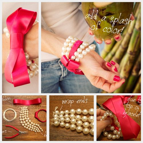 Bow bracelet with pearls
