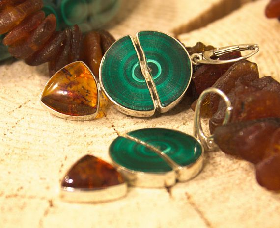 Amber Malachite Earrings Sterling Silver Earrings Baltic