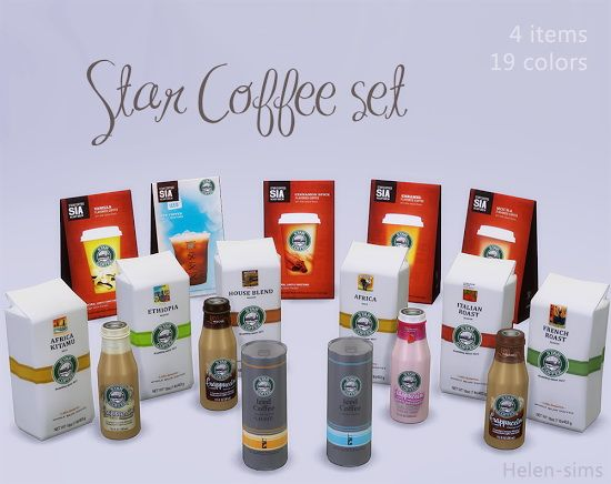 Star Coffee set at Helen Sims via Sims 4 Updates