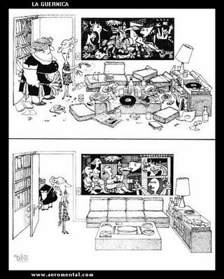 I loved seeing the painting Guernica by Picasso in Madrid.  The cartoon proves: cleaning can be overdone!