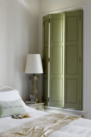 Olive green shutters