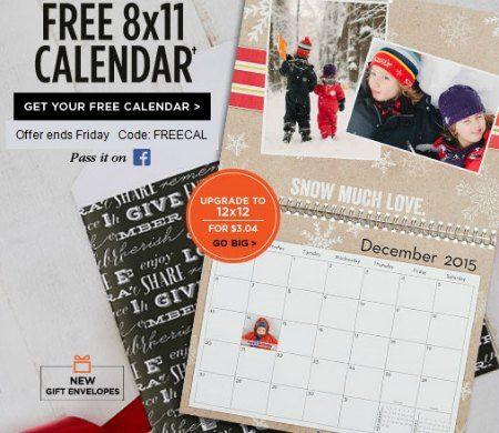 #Shutterfly #FREE Calendar Coupon Code – Thru 11-28