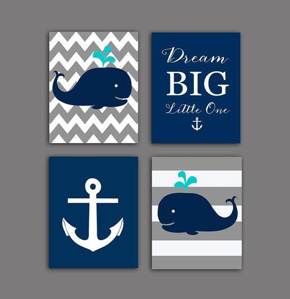 Whales nursery art, Nautical nursery art, Dream big little one in Navy blue, teal, grey, white