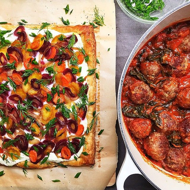 also on the book club menu tonight: ricotta rainbow carrot & herb tart; and meatballs in a tomato- swiss chard sauce. #bookclub by pennyflood - Pinned by Mak Khalaf
