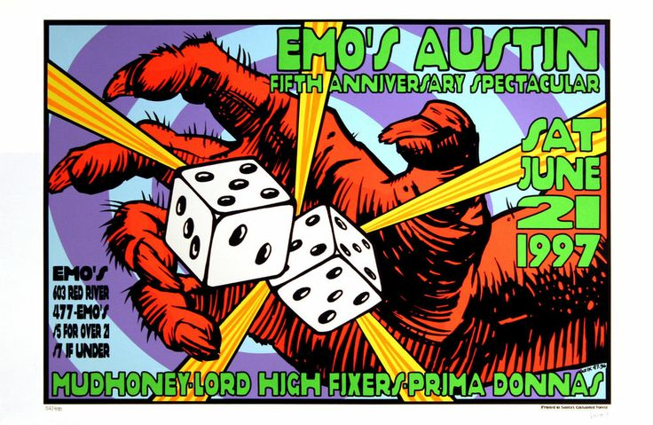 Mudhoney Prima Donnas 1997 Original Emo's Austin Concert Poster Frank Kozik S/N #PopArt #kozik