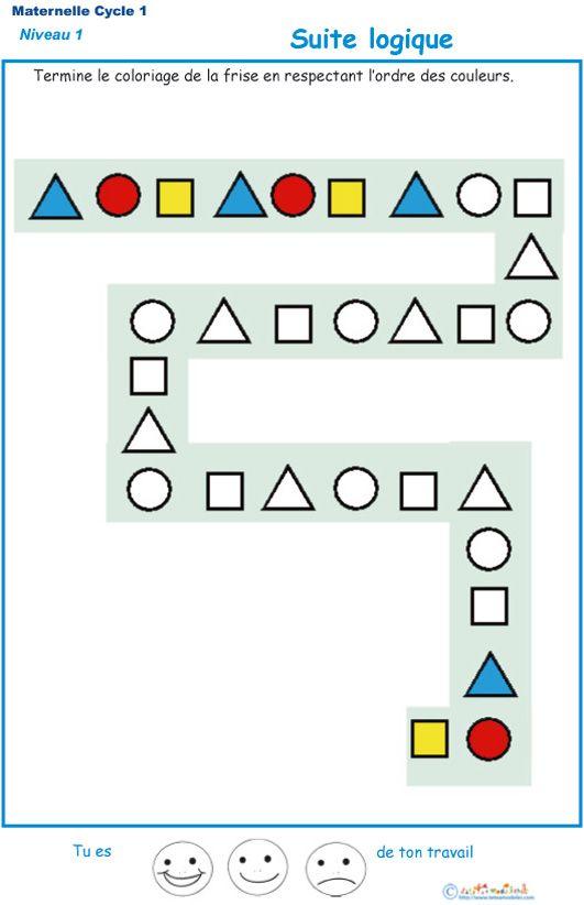 Suite logique pour les enfants de Petite Section de maternelle exercice 1 à imprimer