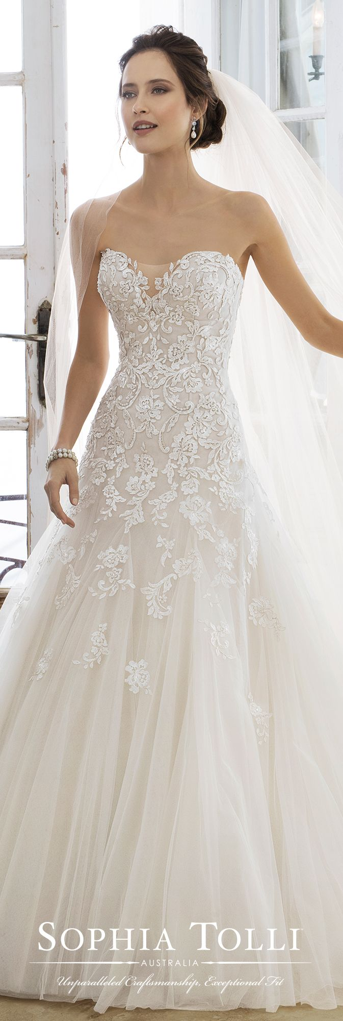Strapless Dropped Waist Lace Fairytale Wedding Dress – Y11866 Adonia