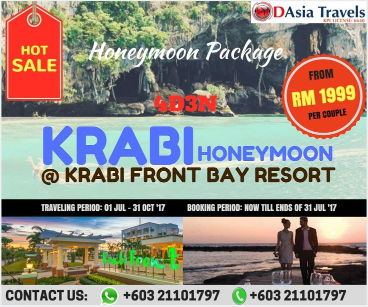 HOT SALE !!!  HONEYMOON PACKAGE 4D3N KRABI HONEYMOON @ KRABI FRONT BAY RESORT ONLY FROM RM 1999 per couple !!!  Honeymoon package at Krabi which is one of wonderful island will create incredible memories together with partner. Staying at Krabi Front Bay Resort during honeymoon trip is best choice for you.  Hurry up get the full itinerary from us!!1  for more info, 👇 👇 👇 http://www.1dasia.com/holiday-tour-packages/Thailand/Krabi-Island