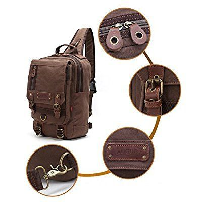 UWILD ® Crossbody del hombro mochila bolsa de viaje honda mochila sin honda del morral del hombro del bolso del bolso táctico (Brown)