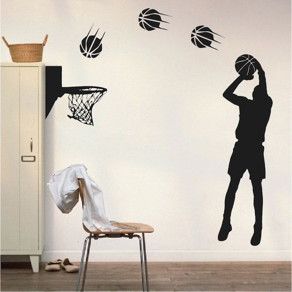 Basketball Player Wall Applique, Basketball Player Art Sticker, Basketball Player Wall Decal, Basketball Jump Shot Wall Design, Decals, s19 by TrendyWallDesigns on Etsy https://www.etsy.com/listing/230055545/basketball-player-wall-applique