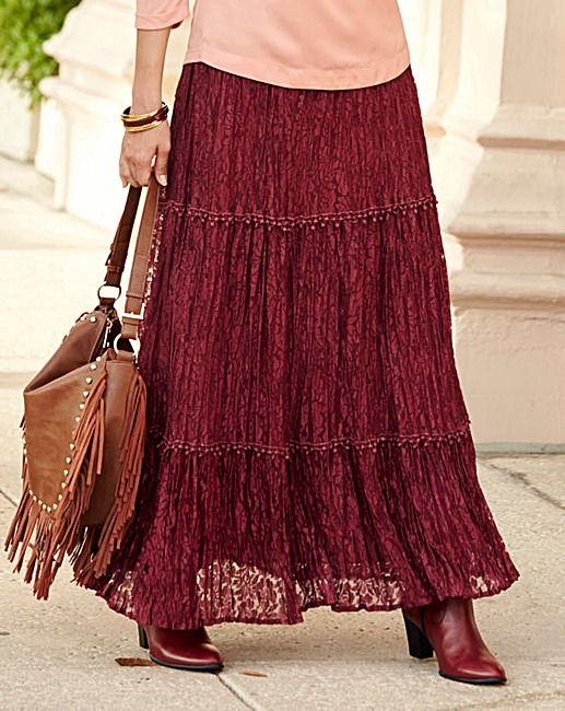 JOANNA HOPE Lace Maxi Skirt | Fifty Plus
