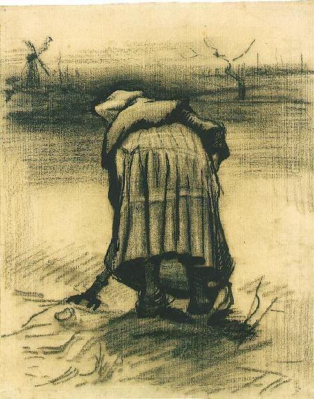 Vincent van Gogh: Peasant Woman Lifting Potatoes Nuenen: May-June, 1885 (Amsterdam, Van Gogh Museum)