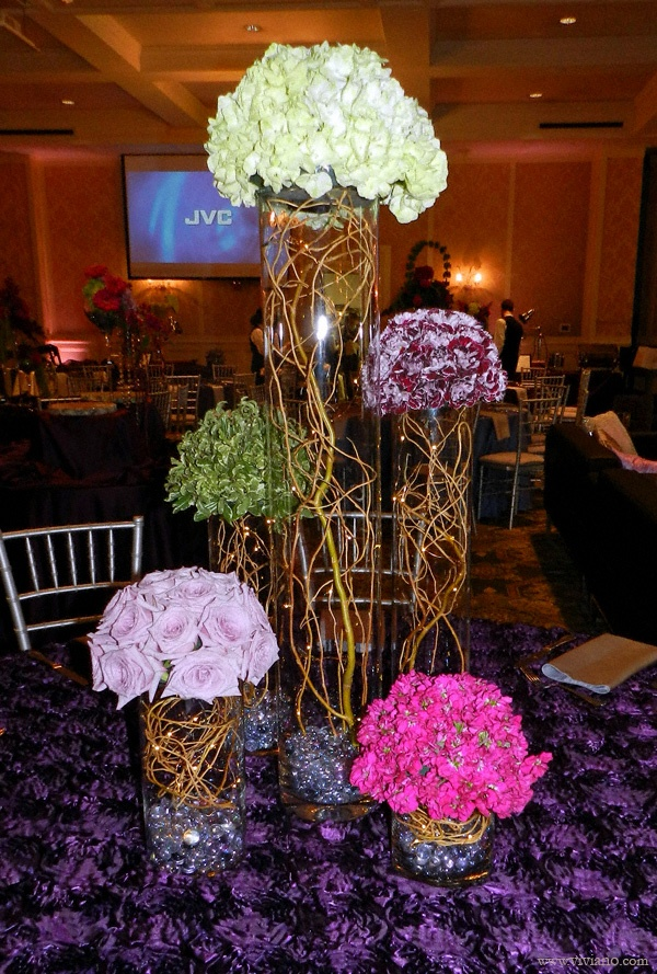 40th Birthday Party Centerpiece Staggered Cylinder Vases Each Showcasing One Type Of Flower