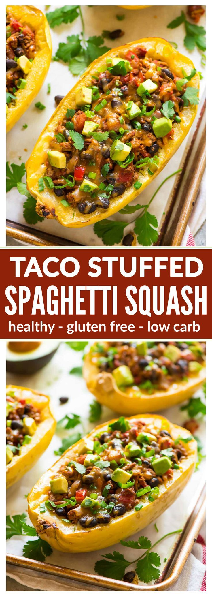 Healthy Taco Spaghetti Squash Boats with Cheese, Ground Turkey, and Black Beans. Easy, filling, and low carb! Great for busy families. Everyone loves this recipe! {gluten free}