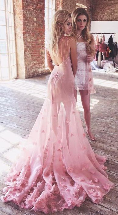 Charming Prom Gown,Pink Prom Dresses,Backless Evening Gowns,Flowers Prom Dresses,Tulle Evening Gowns #charming #pink #prom #flowers #tulle #backless #okdresses