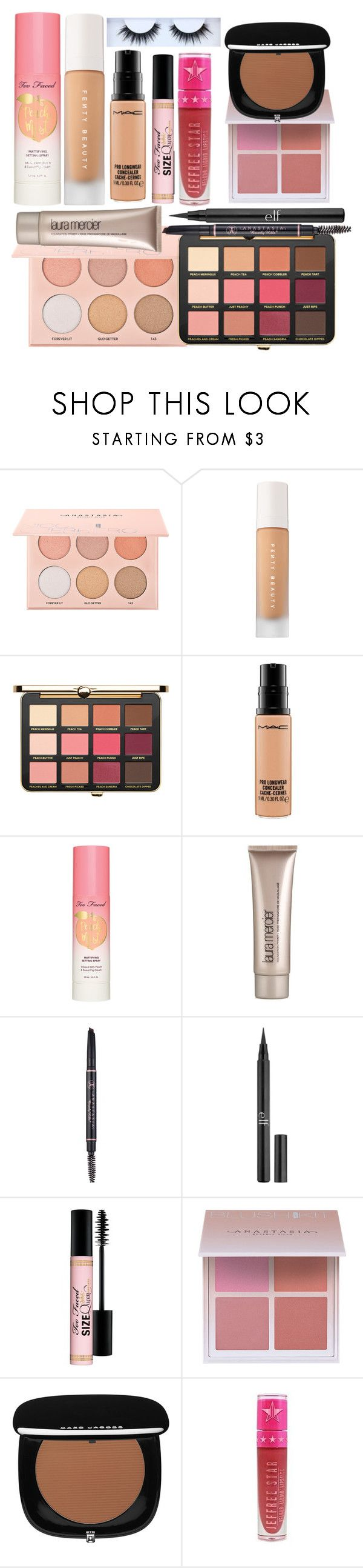 """""""Oh my darling, it is true. Beautiful things have dents and scratches too."""" by thelyricsmatter ❤ liked on Polyvore featuring Sephora Collection, Just Peachy, MAC Cosmetics, Too Faced Cosmetics, Laura Mercier, Anastasia Beverly Hills, Charlotte Russe, Marc Jacobs, Jeffree Star and Huda Beauty"""