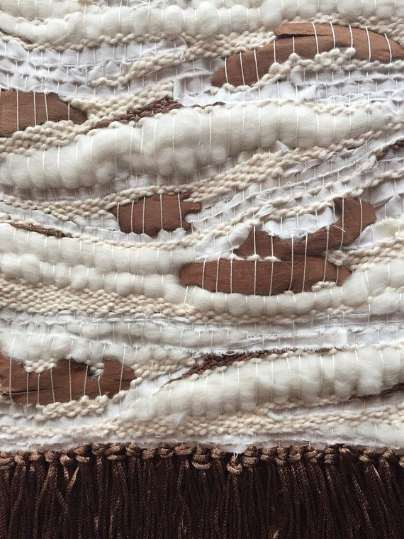 Up North / Handwoven Wall-Hanging with Natural Bark, Wool Roving and Copper Yarn / Woven Tapestry Weaving