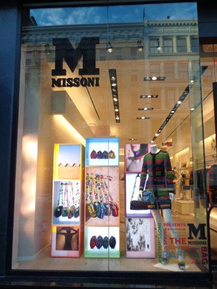 #MMissoni | NY Soho Boutique | Raffia Summer Bags Window | #Beinspired #MyMMissoni #Itbag #Summer2014 #fun #multicolor