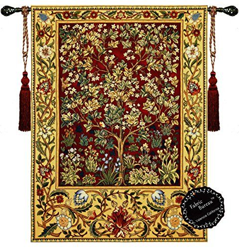 Large Rugs William Morris Tree of Life R Cotton Full Backingcolor Is Beige Wall Hanging Tapestry Decorative Designers Extra Heavy Long Tassels Value Rod Is