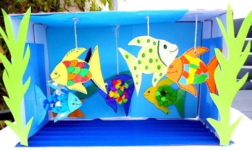 Aquarium aus Karton und Tonpapier - Tiere Basteln - Meine Enkel und ich - Made with schwedesign.de