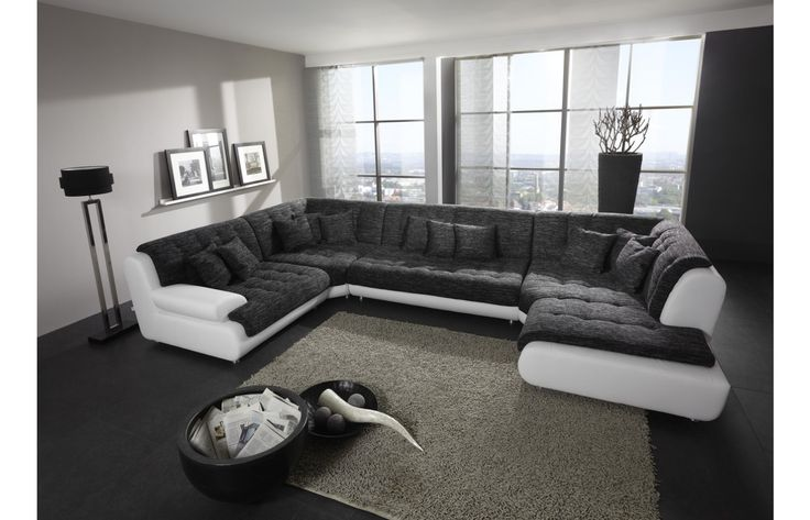 Materialmix #Wohnlandschaft #Leder / #Stoff CHILLOUT TWO - Exklusiv bei #Sofa Dreams