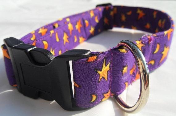 Halloween style purple and orange collar  large by CollarYourDog, $14.00