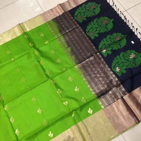 Buy KSS8600002-THAMBOORI's handwoven fine pure soft kanchivaram-Green black beauty, 850g online - Handwoven Kanchivarams,Soft Silks, Silk Cottons and Tussars!
