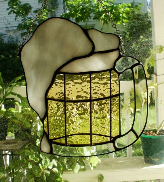 Large Mug of Beer with Suds Stained Glass by missourijewel on Etsy, $48.00