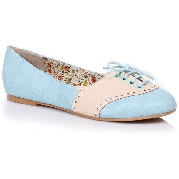 Sky Blue & Cream Retro Halle Oxford Saddle Shoes ($68) ❤ liked on Polyvore featuring shoes, oxfords, blue, oxford lace up shoes, saddle oxford shoes, sky blue shoes, lace up oxfords and blue floral shoes