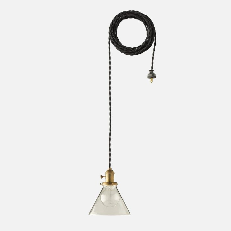 This vintage-inspired pendant recalls the classic lines and raw beauty of early 20th century industrial design. Thoughtful details including a braided black clo