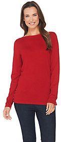 As Is Susan Graver Rayon Nylon Bateau Neck Sweater w/ Button Trim