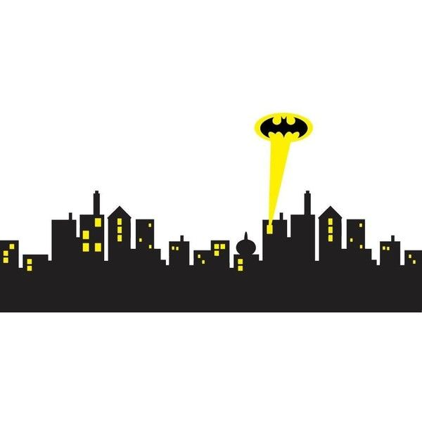 GOTHAM CITY SKYLINE Batman Decal WALL STICKER Home Decor Art C430,... ($32) ❤ liked on Polyvore featuring home, home decor, wall art, cityscape wall art, skyline mural, cityscape wall decal, skyline wall art and cityscape mural