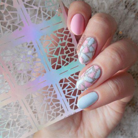 12 Tips/Sheet Irregular Triangle Pattern Nail Vinyls Nail Art Manicure Stencil Stickers JV206 # 23528  Price: 0.83 USD