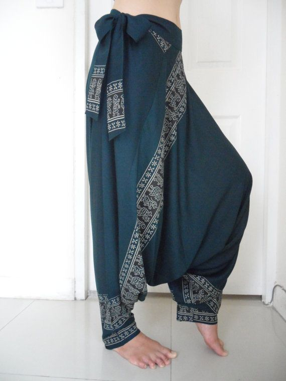 how to wear patterned harem trousers
