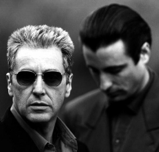 "Al Pacino as Don Michael Corleone and Andy Garcia as Vincent Mancini in ""The Godfather III"", 1990"