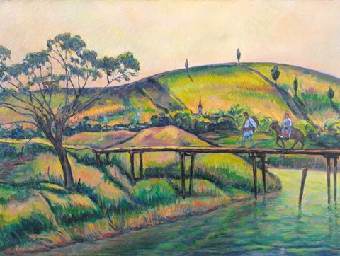 Landscape with Bridge at Vlaici by Nicolae Darascu. Post-Impressionism. landscape