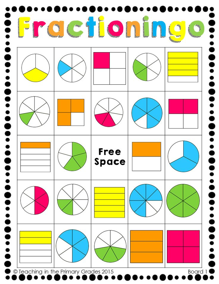 Fractioningo! A fun bingo style game for identifying fractions from 1/2-8/8