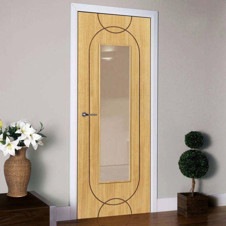 J B Kind Agua Flush Oak Veneered Door And Frame Kit Clear Glass Prefinished Veneer Door Contemporary Doors Flush Doors
