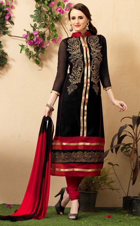 $26.76Black Cotton Churidar Suit 56694