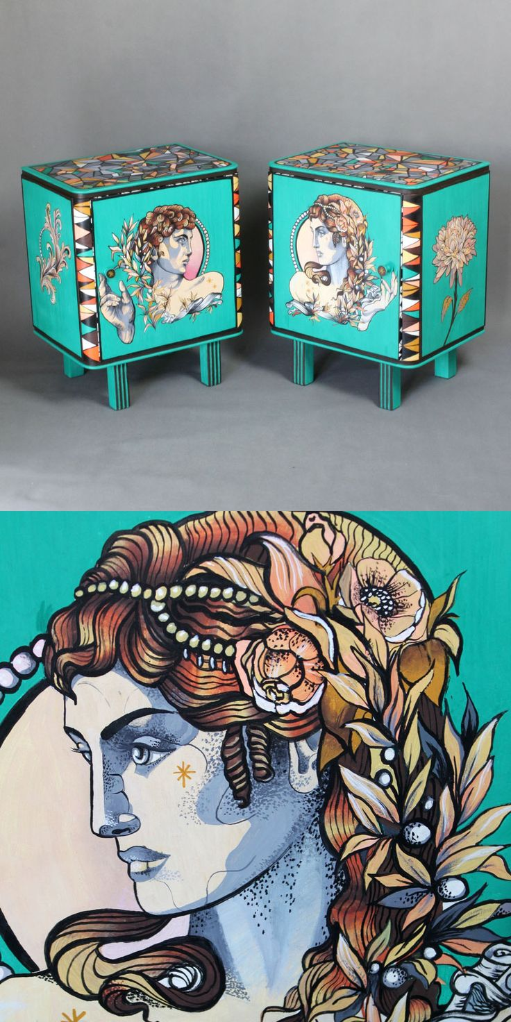 Hand-painted bedside cabinets Him & Her