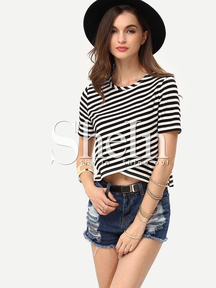 Breton+Stripe+Wrap+Front+Crop+T-shirt+9.99