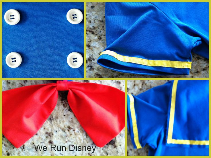 DIY Donald Duck running costume. Very simple!  All you need is a blue tech shirt, white running skirt and some basic materials.  Perfect for a runDisney race!