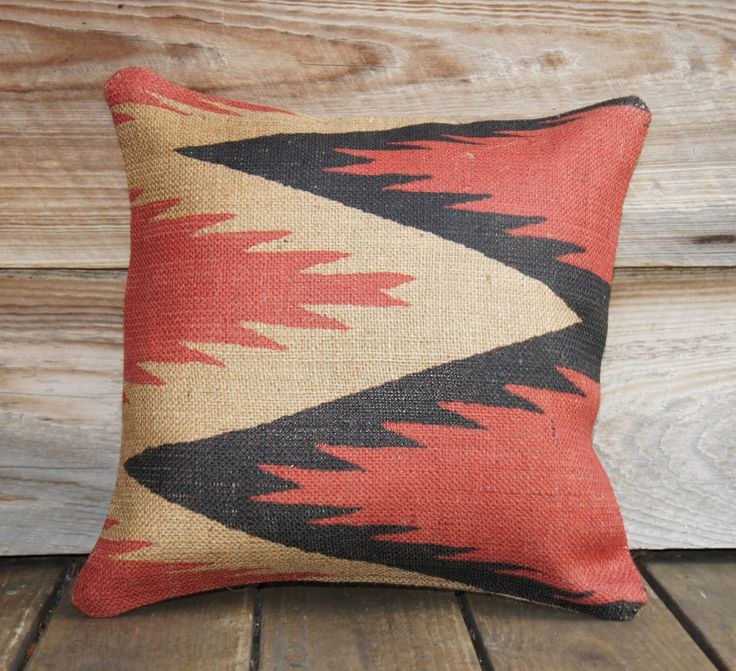 Black and Red Chevron Pillow Cover, Aztec Southwestern Tribal, Burlap, Cushion, Modern Industrial Decor, Feed Sack, Accent Pillow, 16x16. $56.00, via Etsy.