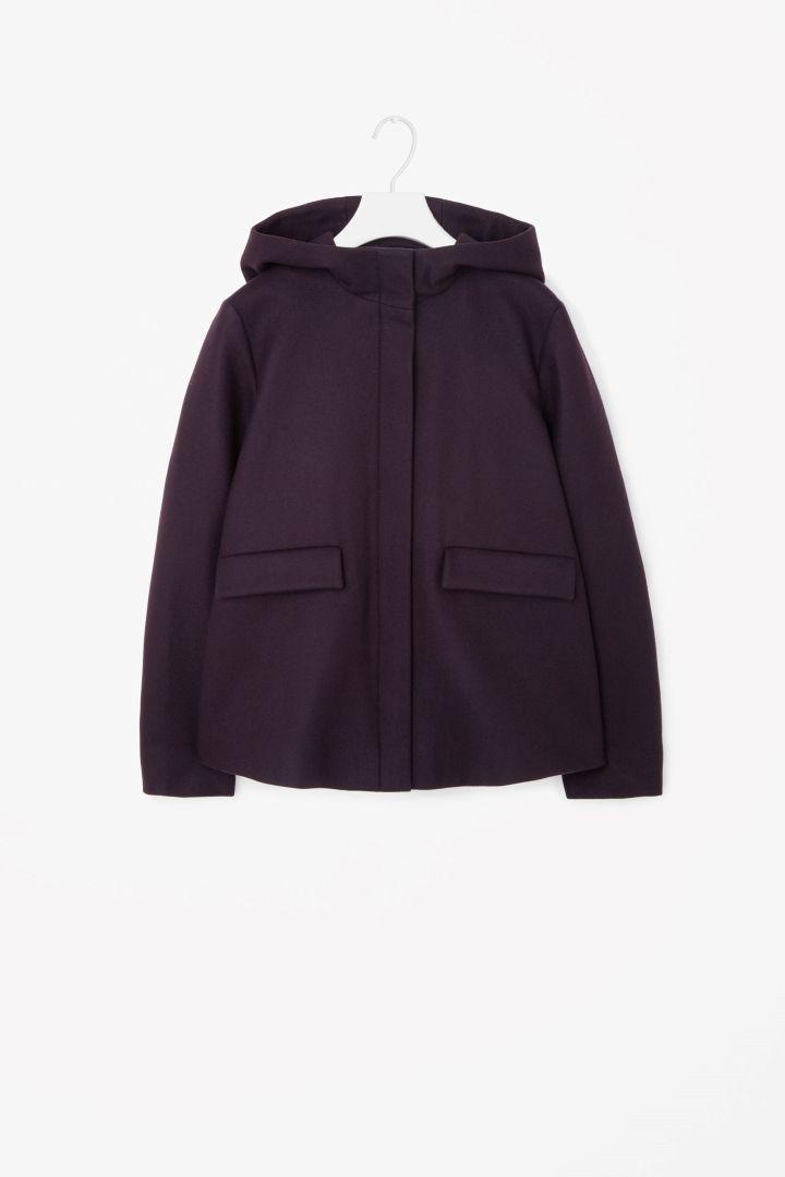 Short A-line hooded jacket