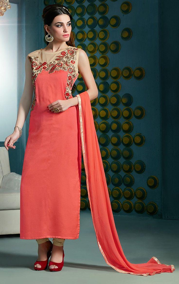 Nylon & Lycra Patch Work Orange Semi Stitched Straight Suit - 925