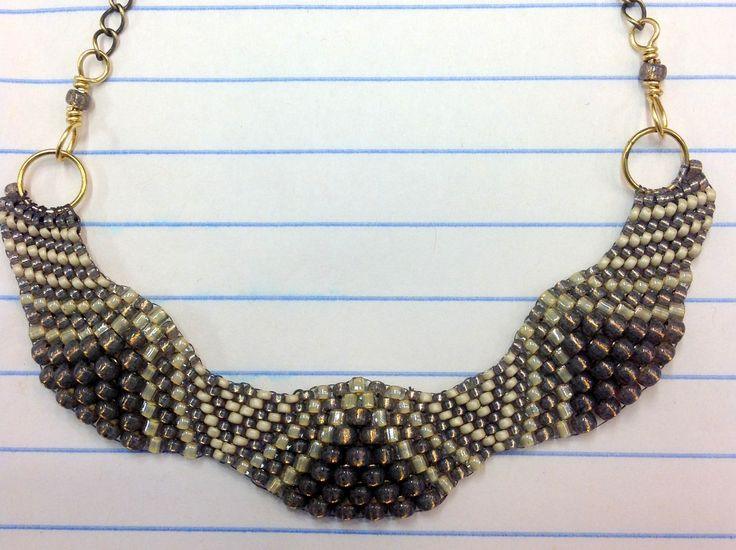 Taupe beads in peyote stitch, simple necklace