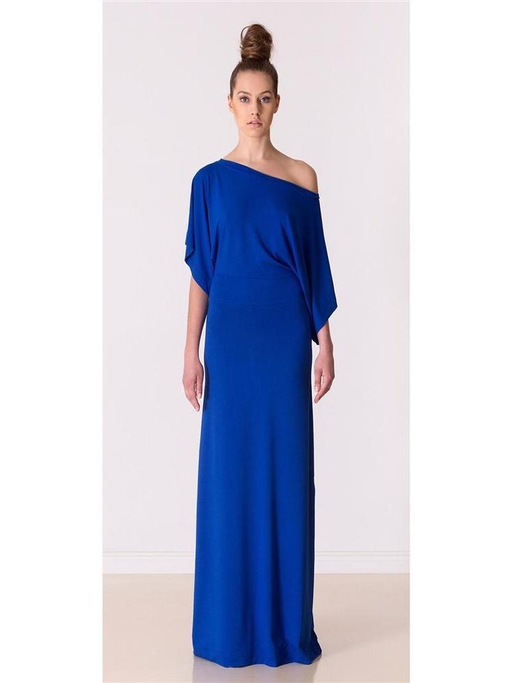 Indigo dress by Yuliya Babich! Sukienka prosta elegancja długa