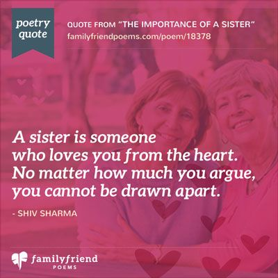 Sister Quote and Poem: Why I Love My Sister Poem, The Importance Of A Sister