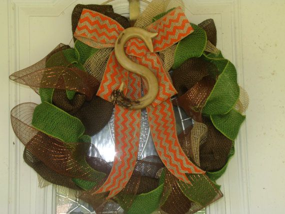 Camo burlap wreath with decorative antler initial by KLSP21, $45.00